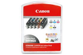 CANON Multi Pack BK/PC/PM/R/G bläckpatron CLI-8 *Blister*