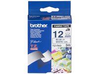 Tape BROTHER TZEFA3 12mm Blå på Vit
