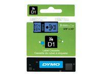 Tape DYMO D1 9mm svart på blå