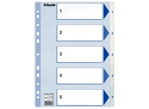 ESSELTE Register Non-Stop A4 1-5 Rubrikblad vit 20-pack
