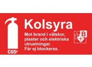 Skylt BRANDSLÄCKARE KOLSYRA 10x20cm