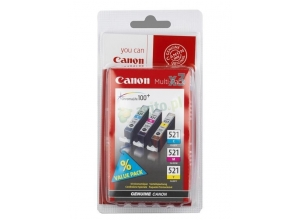 CANON CLI-521 Multi Pack Incl. C/M/Y bläckpatrons *Blister*