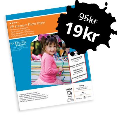 50 ark HP Premium fotopapper A4 för endast 19 kr!