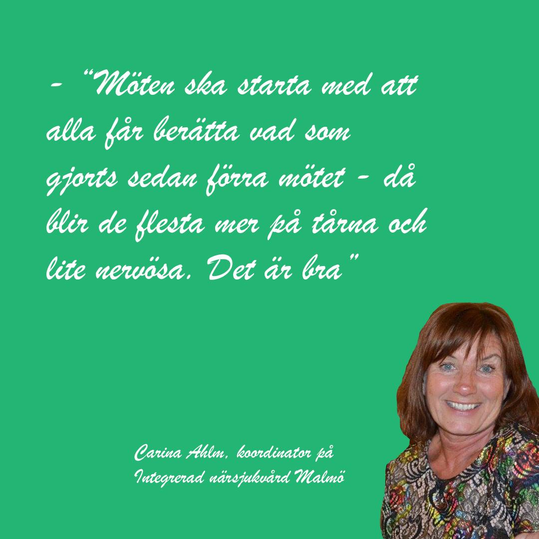 Carina Ahlm, Integrerad närsjukvård i Malmö, tipsar